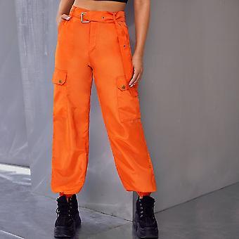 Neon orange grommet belted utility pants