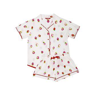 Minijammies 5558 Girl's Sophia Cream Off White Strawberry Print Cotton Pyjama Short Set