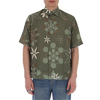 Camisa de Algodão Verde Da Fendi Fs07770abllf0kuk Men'