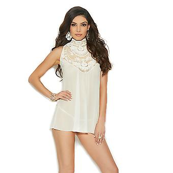 Womens High Neck Lace Embroidered Babydoll Bridal Lingerie Set