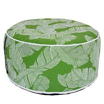 Charles Bentley Indoor/Outdoor aufblasbare Garten Fuß Hocker Pouffe Bean Bag - grünes Blatt H23cm Dia 53cm
