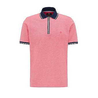Fynch-Hatton Fynch Hatton 2 Tone Zip Polo Shirt Flamingo