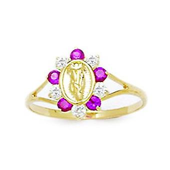 14k Yellow Gold Red CZ Cubic Zirconia Simulated Diamond Taille 5.5 Virgin Mary pour garçons ou filles Ring