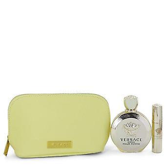 Versace Eros prezent zestaw przez Versace 3.4 uncji Eau De Parfum spray + 0,3 uncji Mini EDP Spray w Versace Yellow etui