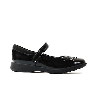 Clarks Etch Spark Toddler Black Patent Leather Girls Rip Tape School Shoes