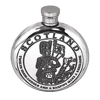 6oz Round Highland Piper Flask