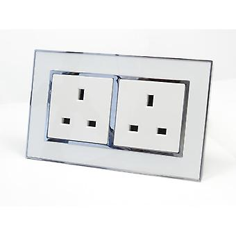 I LumoS AS Luxury White Mirror Glass Double Unswitched Wall Plug 13A UK Sockets