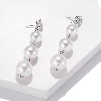 Long Descending Pearl Drop Earrings
