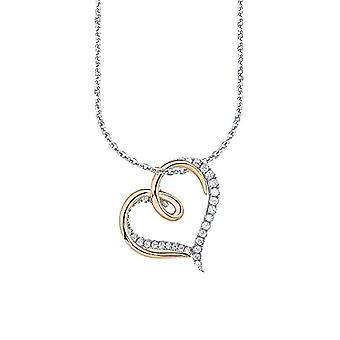 Amor Necklace for women with pendant - pattern: heart - two-tone - silver 925 partially gold-plated with white zircons - 45 cm - 497114 - Silver - color: Bicolore - cod. 497114