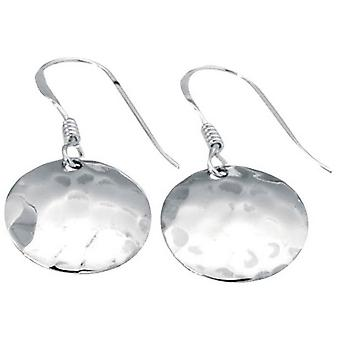 Beginnings Small Hammered Disc Hook Earrings - Silver