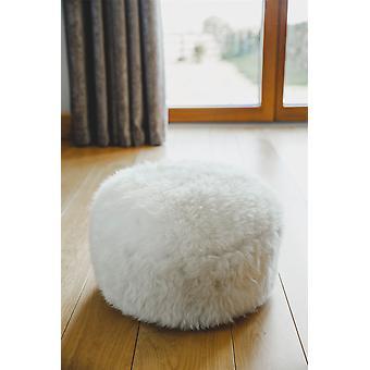 Nordvek Luxe Natuurlijke Schapenvacht Pouffe Footstool - 35x35cm Ottomaanse # 9021-100