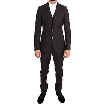 Dolce & Gabbana Bordeaux Wool Slim Fit Two Button Suit -- KOS1014448