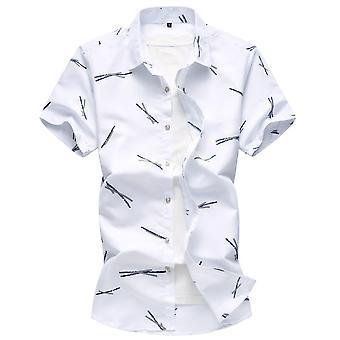 Allthemen الرجال & apos;ق قميص الأكمام القصيرة الحجم الكبير القطن المطبعة قميص قصير