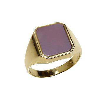 Yellow gold seal ring with pink layer stone
