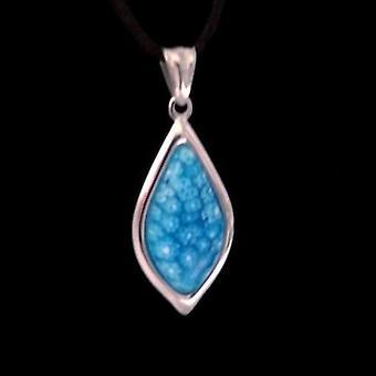 Blue millefiore italian glass teardrop necklace