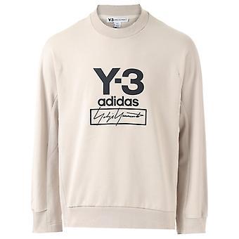Men's Y-3 Stacked Logo Crew Sweatshirt in Creme