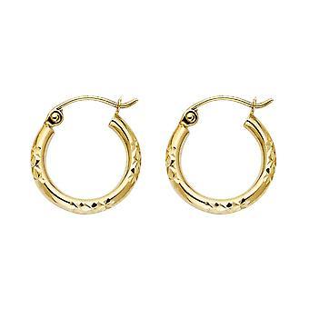 14k Yellow Gold Sparkle Cut Hoop Earrings 15x15mm Jewelry Gifts for Women - 1.0 Grams