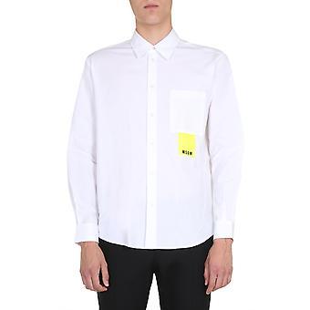 Msgm 2840me06x20700101 Herren's weißes Baumwollhemd