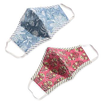 100% Cotton Hand Block Print Double Layer Reusable Face Mask - Blue and Red