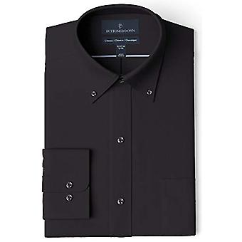 "BUTTONED DOWN Men's Classic Fit Button Collar Solid Pocket Options, Black 16"" Neck 37"" Sleeve"