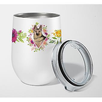 German Shepherd Pink Flowers Stainless Steel 12 oz Stemless Wine Glass