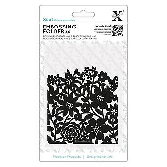 Xcut A6 Embossing Folder Flower Curtain