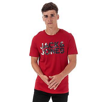 Le T-shirt Jack Jones Splash Corp Logo de l'homme en rouge