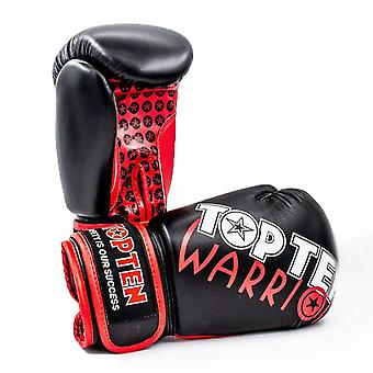 Top Ten Warrior boxe gants noir/rouge