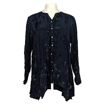 LOGO by Lori Goldstein Women's Top Woven Silky Jacquard Blue A369682