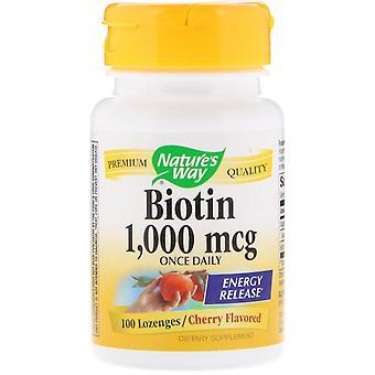 Nature's Way, Biotin, Cherry Flavored, 1,000 mcg, 100 Lozenges