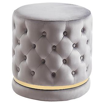 Bennett Round 360° swivel Ottoman - Grey/Gold