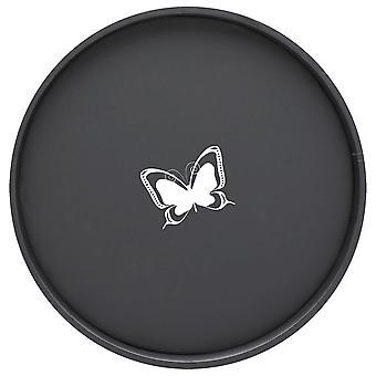 Kasualware 14 Pouces Rond Plateau de service Papillon Noir