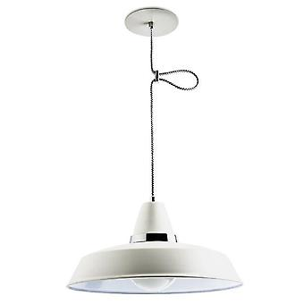 1 Light Dome Ceiling Pendant Chrome, Blanc, E27