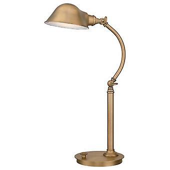 LED 7 Light Desk Lamp Antique Brass