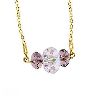 Ah! Jewellery 24K Gold Vermeil Over Sterling Silver Blush Rose and AB Crystals From Swarovski Triple Briolette Necklace, Stamped 925