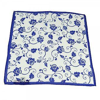 Ties Planet Antonio Boselli Royal Blue & White Floral Mintás Pocket Square zsebkendő