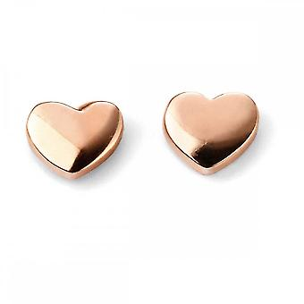 Elements Gold 9CT Rose Gold Heart Stud Earrings GE2038