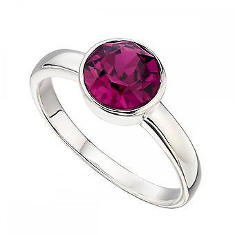 Begynnelse Sterling sølv februar Swarovski birthstone ring R3686