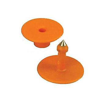 100X Cattle Ear Tags Set Round Orange Small Blank Livestock Label