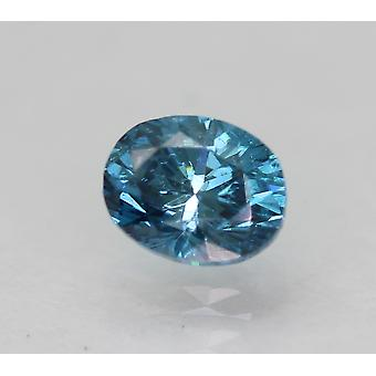 Cert 0,31 Ct Vivid Blau SI1 Oval Enhanced natürliche lose Diamant 4.48x3.52mm 2VG