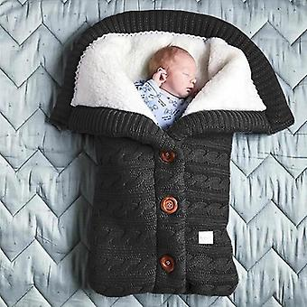 Pasgeboren Baby Winter Warme slaapzakken, Baby Button Knit Swaddle Wrap