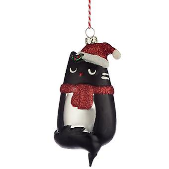 Puckator Felina Fine Cat Glass Christmas Bauble