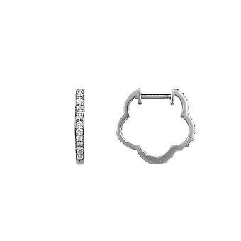 Diamond Huggie Hoops Flower Clover Boucles d'oreilles mariage node 925 Argent Blanc