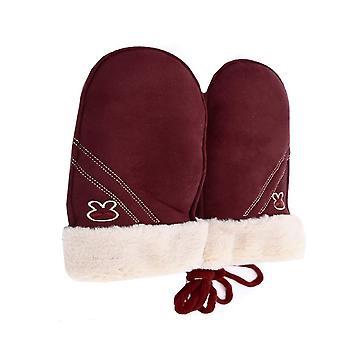Warme Winterhandschuhe in Wildleder-Imitation für Kinder Burgund
