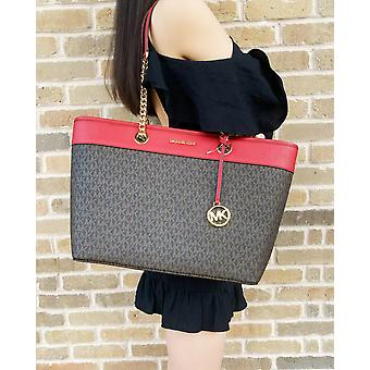 Michael kors shania large chain tote brown mk flame red signature leather