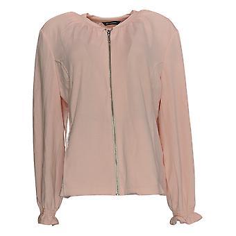 H Par Halston Women-apos;s Zip-Up Bomber Jacket W/ Ruching Detail Pink A385025
