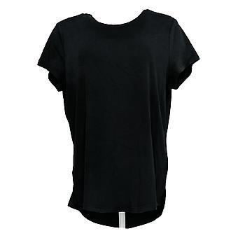 Isaac Mizrahi Live! Women's Top Essentials Curved Hem T-Shirt Black A288195