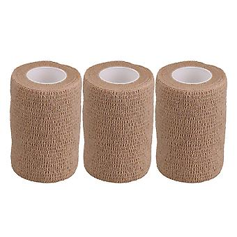 7.4cmx4.5m Self Adherent Bandages Skin Color Athletic Tape Pack of 3