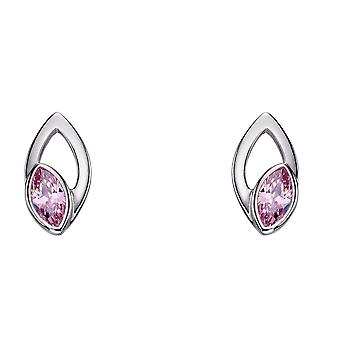 Fiorelli Silver Womens 925 Sterling Silver Open Navette Marquise Pink Cubic Zirconia Stud Boucles d'oreilles