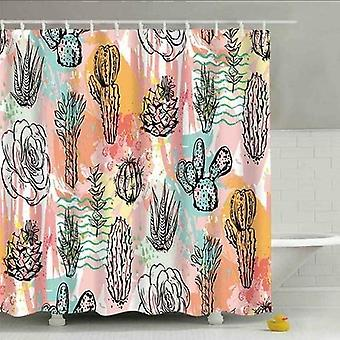 Stone Waterproof - Bathroom / Shower Curtain With Plastic